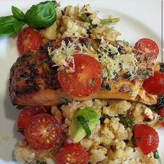 """""""#TBT @FlavorGod Salmon on an asparagus and cauliflower mash. This was delicious, my seasonings really brought out the flavor and Salmon is so EASY!!!…"""""""