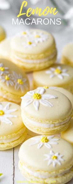 Lemon Macarons - brighten your day with these delicious cookies decorated with a few brushstrokes of royal icing and sprinkles to help usher in the first warm days of spring. Spring Desserts, Köstliche Desserts, Dessert Recipes, Drink Recipes, Macaroon Cookies, Lemon Cookies, Macaron Cake, Delicious Cookies, Delicious Desserts