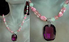 Pink Necklace c/w Removable Purple Dark Swarovski's by camexinc, $39.00
