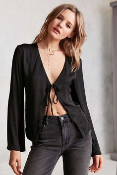 Kimchi Blue Veronica Satin Tie-Front Blouse - Urban Outfitters