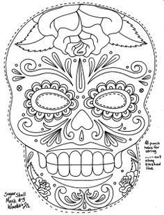 A great sugar skull mask template. Fun to color. Fun to wear. Yucca Flats, N.: Wenchkins Coloring Pages - Sugar Skull Mask with Roses Adult Coloring Pages, Coloring Pages To Print, Free Printable Coloring Pages, Colouring Pages, Free Coloring, Coloring Sheets, Coloring Books, Day Of The Dead Mask, Day Of The Dead Skull