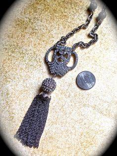 Vintage brooch tassel necklace by JNPVintageJewelry on Etsy, $160.00