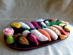 Made to order Needle felted sushi(Please convo me to set up a reserve listing for your custom order) Needle Felted, Felting, Sushi Costume, Toys For Little Kids, Felt Crafts, Diy Crafts, Cute Furniture, Kawaii Crafts, Felt Baby