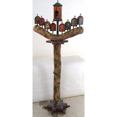 Sticks Judaica, Log Floor Menorah MEN006-S311852, Artistic Artisan Designer Judaica