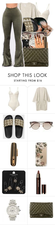 """""""class '17"""" by finesseprincess ❤ liked on Polyvore featuring La Perla, Monki, Gucci, Linda Farrow, Casetify, Topshop, Hourglass Cosmetics, Cartier, Chanel and GET LOST"""