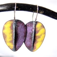 Lots of lovely colours with torched fired enamel earrings...   love these purple and yellow ones..  $45