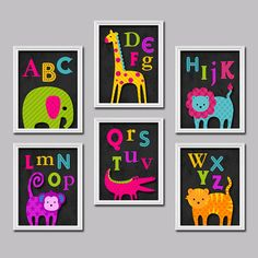 Colorful Alphabet Animal Elephant Giraffe Monkey Lion Alligator Set of 6 Prints WALL Baby Decor ART Bedroom Picture Child Crib NURSERY