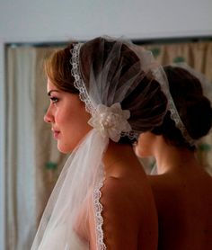 Ivory Juliet Cap with Wedding Veil in English Silk tulle, lovely lace edge and Vintage Bridal Hair Flower