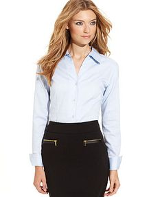 Calvin Klein Fitted Button-Front Shirt
