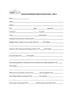 A Simple Eyelash Extension Consent Form For Your Use Spa Salon