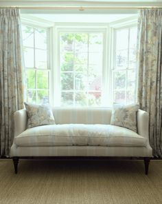job we did a few years ago with soft colors and in the manor of Phoebe Howard - design and photo by Laurel Bern - settee by TCS Designs - Settee fabric - Rogers and Goffigon - pillow and drapery fabric - Duralee