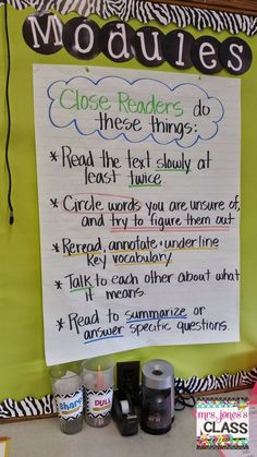 Close readers anchor chart. This is a good visual to remind students what to actually do when they are reading closely.