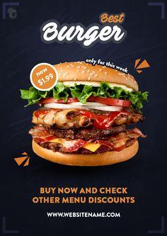 big burger | promo design concept #Flyer #poster #design #banner Food Graphic Design, Food Menu Design, Food Poster Design, App Design, Foodtrucks Ideas, Menue Design, Promo Flyer, Big Burgers, Fast Food Menu