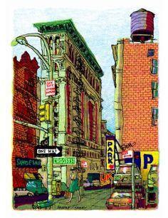 Et voici le deuxième tirage de la collection ! Broome & Crosby Street de Marthes Bathori, tirage signé en édition limitée à 100 exemplaires.   Martes Bathori nous livre une nouvelle facette de New-York et continue sa ballade dessinée dans Soho au croisement de Broome Street et Crosby Street. Ainsi croquée et réinterprétée par la palette de l'artiste, New York reste fidèle à sa réputation : une ville mythique