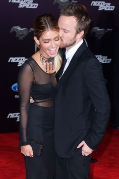 Aaron Paul loves his wife more than you love anything. #refinery29 http://www.refinery29.com/red-carpet-kisses#slide-22