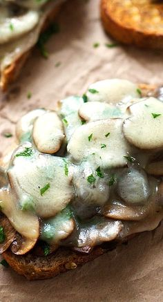 simple garlic butter mushroom and provolone melts...