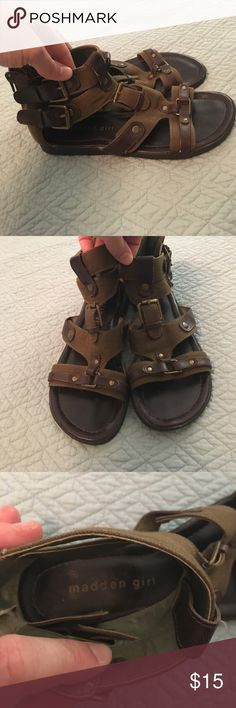 6960bd1f6c1 Madden girl gladiator sandals Madden Girl Sentinel gladiator sandals in  army green with brown leather and
