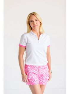 Birdees and Bows Women's Solid Short Sleeve Golf Polo with Ruching- White with Pink Trim