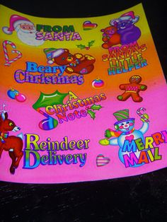 LISA FRANK vintage stickers S482 Christmas greeting by 4JOY2YOU, $7.00