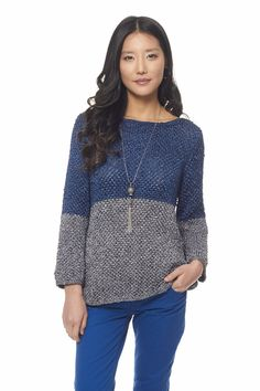 Color Dipped Top - Free Knitted Pattern - (yarnspirations)