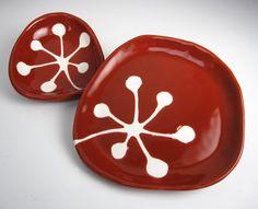 retro kitchen decor - small handmade ceramic plate - retro berries in crimson red. $28.00, via Etsy.