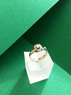 Engagement Ring - Diamond & Recycled White 14k Gold