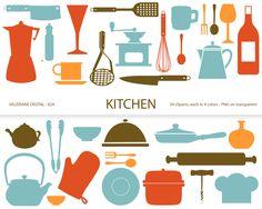 Attirant Kitchen Clipartu0027s, Retro Kitchen Utensils, Scrapbook Supplies, Clipart, Clip  Art, Instant