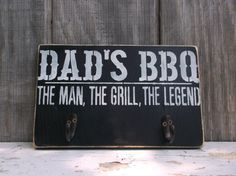 Dad's BBQ Sign Backyard Barbecue Grill Sign Wooden Sign Hook Rack The Man The Grill The Legend