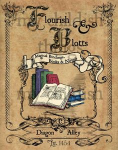 Have you been to Diagon Alley yet? This vintage style print is an old style ad for Flourish & Blotts, Diagon Alleys premier book retailer. This Harry Potter print will look wonderful in any fans home! Prints are on premium, matte finish professional paper. This one of a kind Harry