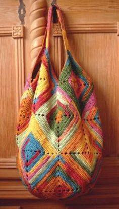 Crochet Rainbow Market Tote Bag Free Pattern