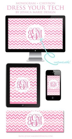 Dress your tech. Free Pink Chevron + Monogram Wallpapers (computer, iPad, iPhone, Facebook)