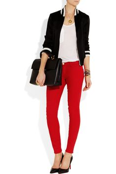 Current/Elliott | The Moto paneled coated low-rise skinny jeans | NET-A-PORTER.COM