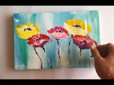 How to draw easy flowers painting / Demonstration /Acrylic Technique on canvas by Julia Kotenko Easy Flower Painting, Simple Oil Painting, Abstract Flower Art, Acrylic Painting Flowers, Texture Painting, Acrylic Painting Canvas, Des Fleurs Pour Algernon, Mini Canvas Art, Easy Drawings