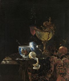Willem Kalf, Still life with a Chinese bowl, a nautilus cup and fruit, 1662