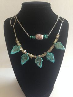 Turquoise Leaf Necklace Set by AllaLunaDesign on Etsy