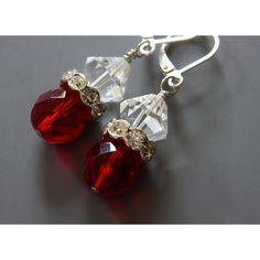 Red Crystal Earrings, Bicone Beads, Rhinestone Spacers, Sterling... ($17) ❤ liked on Polyvore featuring jewelry, earrings, christmas earrings, crystal earrings, long earrings, sterling silver crystal earrings and dangle earrings