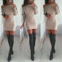 a0020cf0c6b4 Sexy Women Off Shoulder Long Sleeve Bodycon Bandage Party Evening Mini  Dress New Short Dresses