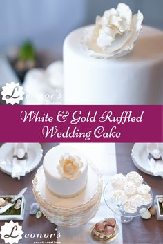White & gold ruffled wedding cake - one of my favorite wedding cakes of all time! | Weiße und Goldene Hochzeitstorte - eine von meinen Lieblingstorten!