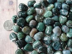 ∆ Agate... Green Moss Agate-brings wealth, helps new crops grow, releases trapped emotions, helps stress, anxiety and tension. Good for cleansing and detox, digestion, dehydration, fungal infections, cold and flu symptoms, skin disorders, the immune system, eyes and digestion