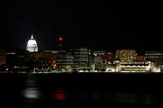 Madison, Wisconsin - Night Skyline