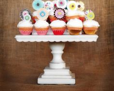 """12"""" Square Shabby Chic White Pedestal Antiqued Cake Stand - any color available"""