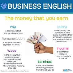 'The money that you earn' BUSINESS ENGLISH - Repinned by Chesapeake College Adult Ed. We offer free classes on the Eastern Shore of MD to help you earn your GED - H.S. Diploma or Learn English (ESL) . For GED classes contact Danielle Thomas 410-829-6043 dthomas@chesapeke.edu For ESL classes contact Karen Luceti - 410-443-1163 Kluceti@chesapeake.edu . www.chesapeake.edu