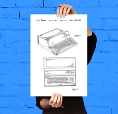 Apple Computer Patent, Apple Computer Poster, First Apple Computer Print, First Apple Computer Art, Apple Computer by STANLEYprintHOUSE  0.79 USD  This is a vintage patent print. The First Apple Computer from 1986.  This poster is printed using high quality archival inks, and will be of museum quality. Any of these posters will make a great affordable gift, or tie any room together.  Please choose between different sizes and co ..  https://www.etsy.com/ca/listing/487017449/apple-co..