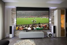 Rocky home cinema - projector and television as a duo solution - Rocky home theater - Home Cinema Projector, Home Cinema Room, Home Theater Rooms, Home Theater Seating, Home Theater Projectors, Living Room Theaters, Basement Living Rooms, Painel Home, Home And Deco
