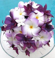 Purple & lavender plumeria wedding bouquet.