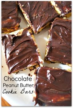 Chocolate Peanut Butter Cookie Bars–a little piece of heaven in your mouth.  Uses a cake mix...so easy and fast!