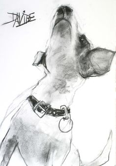 'Spot watching Oscar up a Tree' Original Charcoal by Valerie Davide - Framed £410