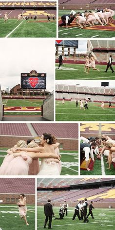 College stadiums make a great location for photo shoots. Unique and a great way to show school pride like these Golden Gophers fans did.