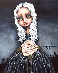 Rose Drawing Art Print: Rose by Angelina Wrona : - Girl White Hair, Fine Art Posters, Plant Drawing, Galerie D'art, Rose Art, Painting Edges, Neon Painting, Pop Surrealism, Love Drawings