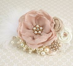 Ivory and Blush Pink Wedding | Bridal Hair Fascinator Clip in Blush Pink, Gold, Champagne and Ivory ...